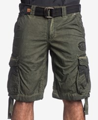 Affliction Men's Rusted Template Cargo Shorts Military Green