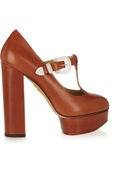 Charlotte Olympia Ryder Leather Mary Jane Platform Pumps Brown
