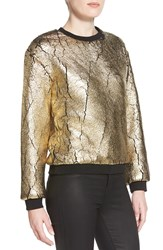 Eleven Paris 'Padore' Cracked Foil Sweatshirt Gold