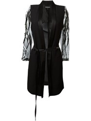 Ann Demeulemeester Feather Embellished Sheer Sleeve Jacket Black