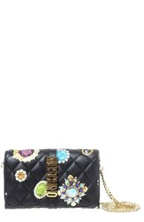 Moschino Women's Jewel Print Leather Wallet On A Chain
