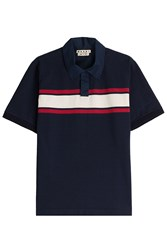 Marni Cotton Polo Shirt With Colorblock Stripe Blue
