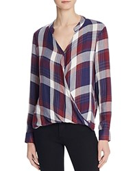 Vintage Havana Brit Plaid Wrap Blouse Navy Burgandy