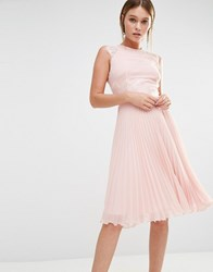Elise Ryan Pleated Midi Dress With Eyelash Lace Sleeves Nude Pink