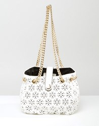 Little Mistress Laser Cut Detail Bag With Chain Mono Cut Out White