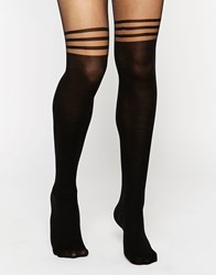 Asos 3 Stripe Over The Knee Tights With Support Black