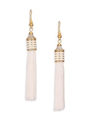 Eddie Borgo White Lace Agate Crystal Enamel And Silk Tassel Earrings Gold White