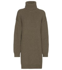 Balenciaga Wool Blend Turtleneck Sweater Dress Green