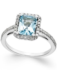 Macy's Aquamarine 1 1 5 Ct. T.W. And Diamond 1 4 Ct. T.W. Ring In 14K White Gold Blue