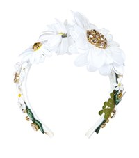 Dolce And Gabbana Crystal Embellished Daisy Headband Female White