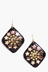 Boohoo Star And Round Studded Earrings Black