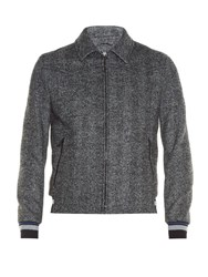Lanvin Contrast Cuff Zip Front Bomber Jacket Grey Multi