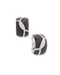 Roberto Coin 18K Diamond And Black Sapphire Half Hoop Earrings Women's