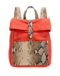 Neiman Marcus Tess Roll Snake Embossed Backpack Red Tan