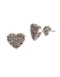 Lord And Taylor Marcasite Heart Post Earrings Silver