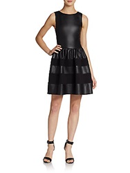 Saks Fifth Avenue Red Faux Leather And Scuba Teacup Dress Black