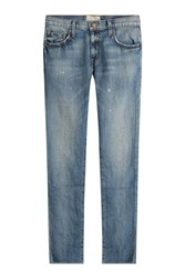 Current Elliott Cotton Linen Straight Jeans Blue