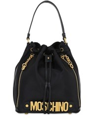 Moschino Medium Logo Lettering Nylon Bucket Bag
