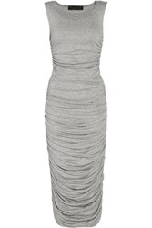 Norma Kamali Ruched Stretch Jersey Top And Skirt Set Stone
