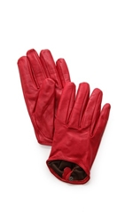 Carolina Amato Short Leather Gloves Red