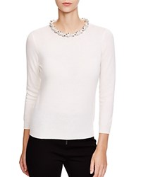 C By Bloomingdale's Jeweled Neck Cashmere Sweater Winter White