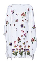 Andrew Gn Flutter Sleeve Floral Dress White