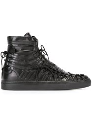 Cesare Paciotti Strappy Lace Up Hi Top Sneakers Black