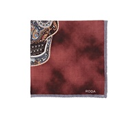 Roda Paisley Skull Pocket Square Wine