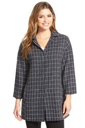 Gibson Plaid Snap Front Topper Petite Blue