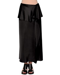Marni Fold Waist Side Ruffle Maxi Skirt Black Women's