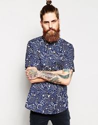 Element Shirt With Floral Print Short Sleeves Darkdenim