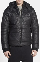 Rogue Black Faux Leather Quilted Puffer Jacket
