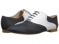 Massimo Matteo Two Tone Oxford Blue Blanco Women's Lace Up Casual Shoes Black