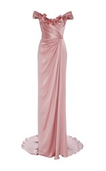 Marchesa Off The Shoulder Satin Gown Pink