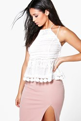 Boohoo Boutique Lace Crochet Halter Top White