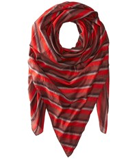 Manila Grace Striped Scarf Red Fuchsia Scarves
