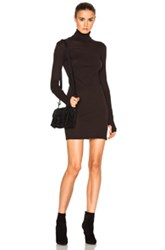 Enza Costa Cashmere Long Sleeve Turtleneck Dress In Brown