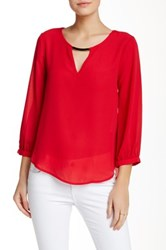 Lily White Bar Front Long Sleeve Blouse Red