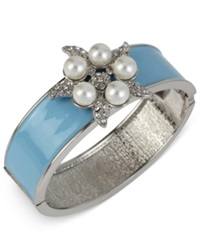 Macy's Haskell Imitation Pearl And Crystal Flower Hinged Bangle Bracelet Blue