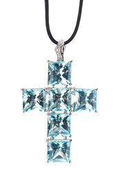 Gavello Cross Pendant Necklace Blue