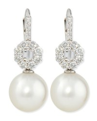 Octagon Diamond And White South Sea Pearl Earrings