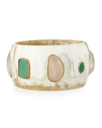 Ashley Pittman Mawe Horn Bangle Bracelet W Jade And Rose Quartz