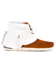 Visvim Beaded Leather And Suede Moccasins White