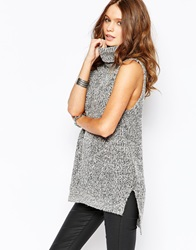 New Look Roll Neck Sleeveless Tunic Grey