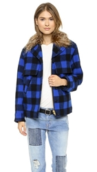 Smythe Barn Jacket With Detachable Faux Fur Collar Cobalt Check