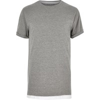 River Island Mens Grey Marl Longline Double Layer T Shirt