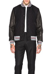 Thom Browne Whale Jacquard Varsity Jacket In Black Animal Print