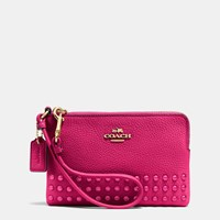 Coach Corner Zip Wristlet In Lacquer Rivets Pebble Leather Light Gold Cerise