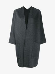 Vince Wool Cashmere Blend Coat Dark Grey White