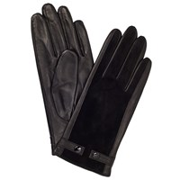 John Lewis Double Stud Leather And Suede Gloves Black